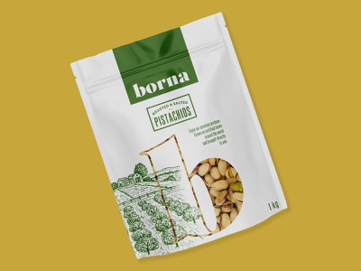 Packaging for nuts graphic design label organic illustration hand drawn landscape pouch food nut