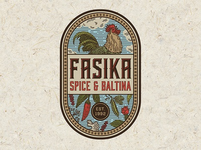 Logo for Fasika Spice and Baltina red pea pepper food vintage organic spice