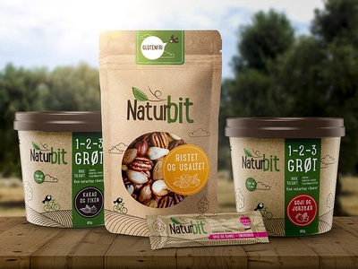 Packaging concept for Nordic based health brand snack bar energy monoline porridge healh green craft organic