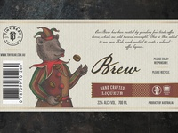 Label for coffee liqueur - flat version