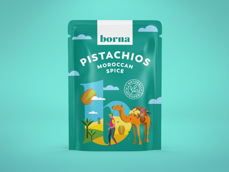 Packaging for a range of flavoured nuts 2 package pouch pistachio nut organic flat art illustration drawing