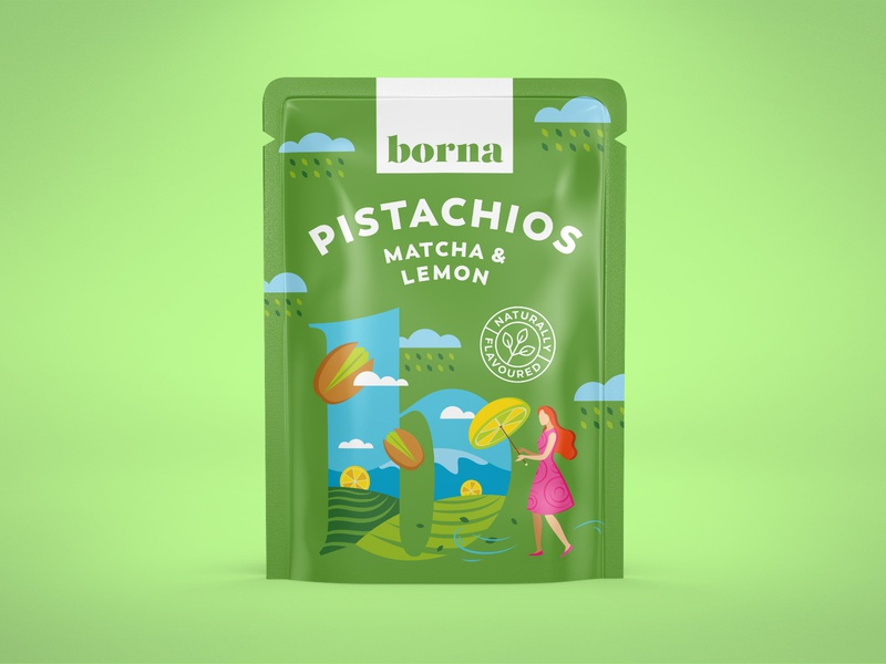 Packaging for a range of flavoured nuts 5 pistachio nut package pouch flat art organic illustration drawing