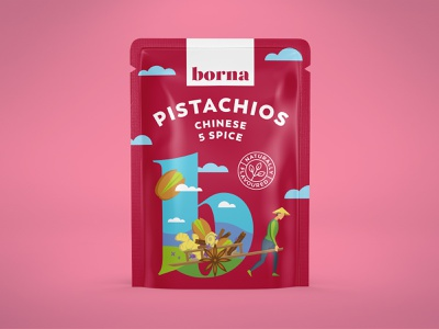 Packaging for a range of flavoured nuts 6 nature package pouch pistachio nut organic illustration drawing