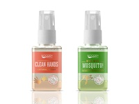 Repellent and hand cleaner labels design