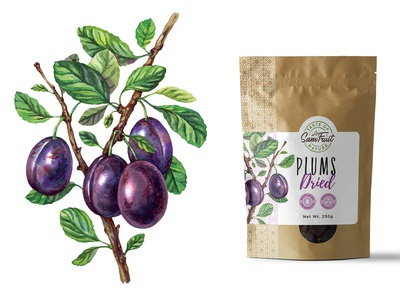 Dried fruits packaging serie - plums