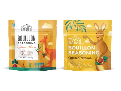Package for Bouillon seasoning - first review1 australia package illustration organics kangaroo organic bouillon