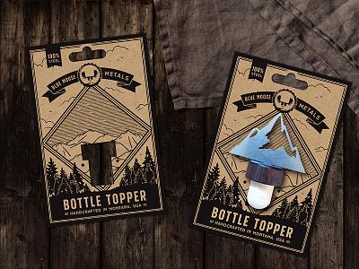 Carton design for Blue Moose Metals forest topper carton kraft bottle drawing illustration