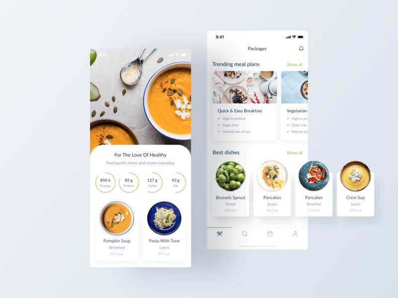 Vegan Food / Mobile App ui ux web animation design webdesign project interface mobile ui mobile app mobile design vegan food principle dribbble website branding