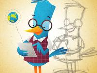 Blue bird using tablet