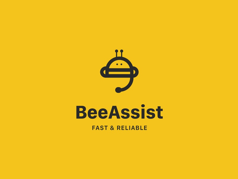 Bee Assist logo logotypedesign logotype branding identity design identity clear design simple logo logodesigner logodesigns logodesign logos logo design yellow bee logo