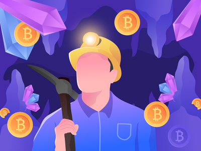 mining bitcoin illustration modern purple design art vector quarry cryptocurrency bitcoin mining flat web design illustration