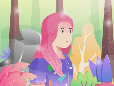 cute girl character flat website green forest girl illustration cute vector web design illustration