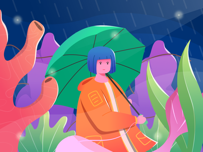rainy gradient graphicdesign ocean blue rainy rain sea girl character flat web design illustration