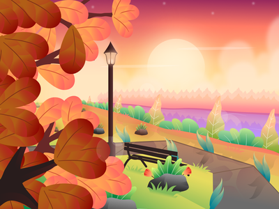 park flat landscape sunset shining illustration for web vector modern design illustration