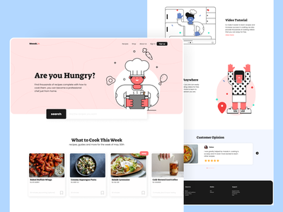 Cooking - Home Page recipe web design chef home page cooking ux vector web illustration