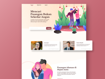 Dating - home page love couple home page ui web vector design illustration