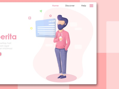 News home page pink news minimalis website vector simple brand texture home page modern illustration concept web page ux ui flat design