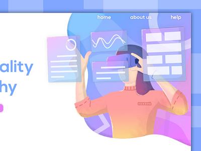 Virtual reality - home page technology concept home page design blue reality virtual illustration web ux ui