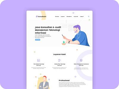 landing page-konsultasini bussines consulting purple landing page flat modern web home page concept illustration design ux ui