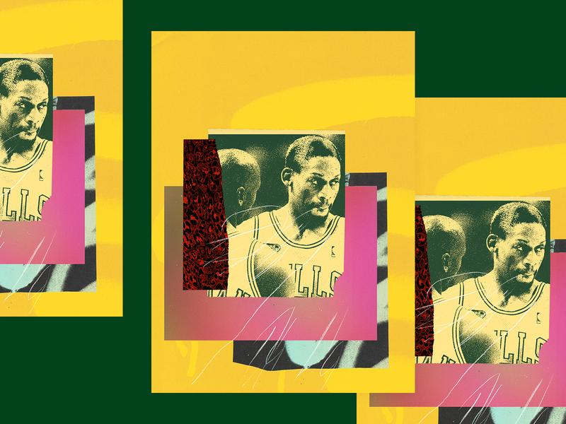 The Worm poster basketball collage bulls nba poster nba rodman