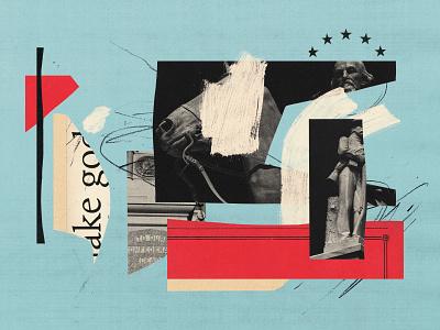 Sojourners Illustration horse editorial illustration illustraion collage blm black lives matter racism war monuments