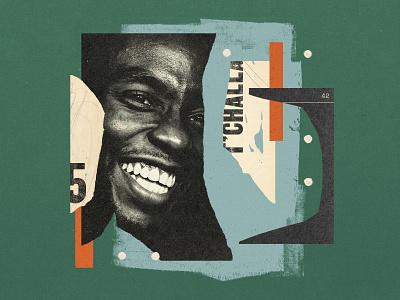 Chadwick Boseman paper paint collage king wakanda chadwick boseman black panther