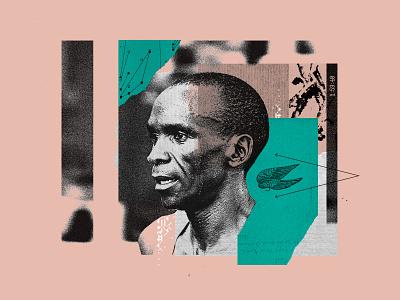 Eliud Kipchoge illustraion athlete collage wings run running nike marathon eliud kipchoge