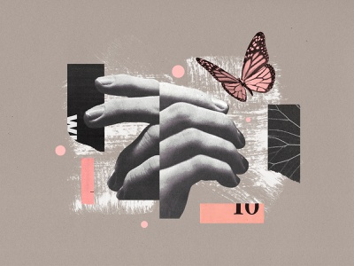 Spring texture paint analog butterfly richmond illustration virginia poster collage