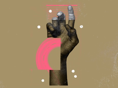 Reach art paint hand illustration poster collage