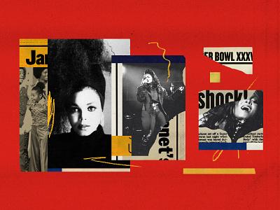 Janet Jackson for NPR 90s dance paper collage editorial music janet jackson illustration collage