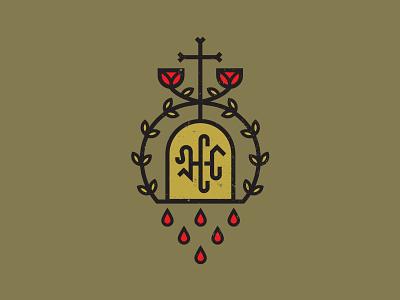 Church Hill badge rose laurels vine crucifix cross blood tombstone grave