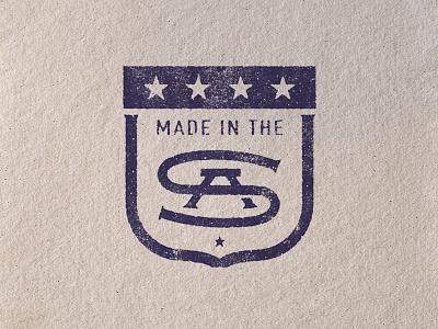 Made in the USA america monogram stars badge usa