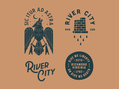 Richmond Tees banner latin river brick wings bird cardinal stars richmond virginia badge