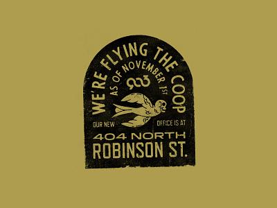 We've Moved! stamp texture grunge badge flying wings skull bird