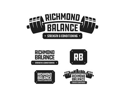 Richmond Balance Refresh badge bold logo richmond virginia barbell health weightlifting exercise fitness
