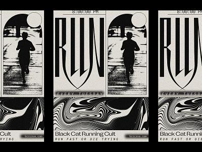 Black Cat Running Cult poster marathon fitness exercise running run