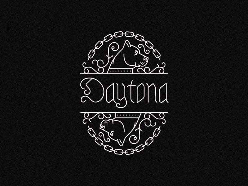 Daytona floral chain pitbull dog monoline