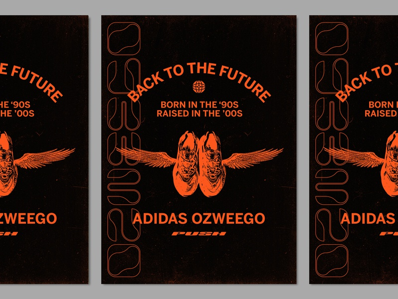 Ozweego sports running wing wings typography ozweego sneakers shoes poster