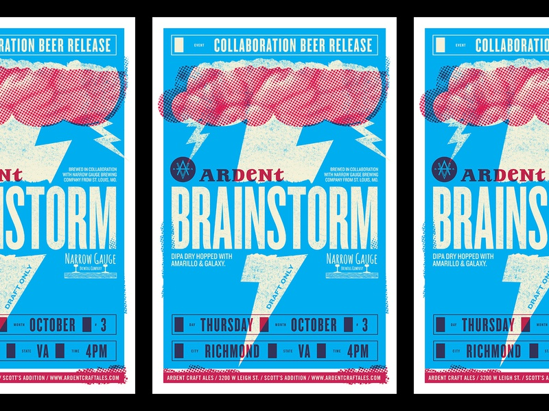 Ardent Brainstorm Poster texture halftone cloud brain lightning bolt lightning beer poster