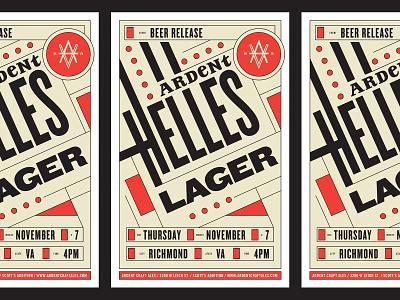 Ardent Helles Lager Poster poster geometry geometric bauhaus craftbeer beer