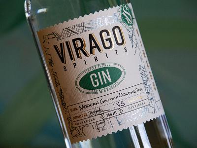 Virago Spirits Experimental Series map travel stamp emboss foil craft label liquor