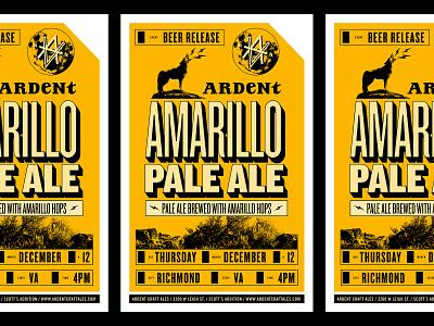 Ardent Amarillo Poster desert lightning poster beer craftbeer moon coyote wolf