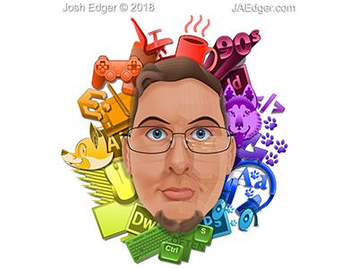 All-Vector [Stylized Ver.] Self-Portrait josh-edger jaedger gradient mesh illustration illustrator vector self portrait