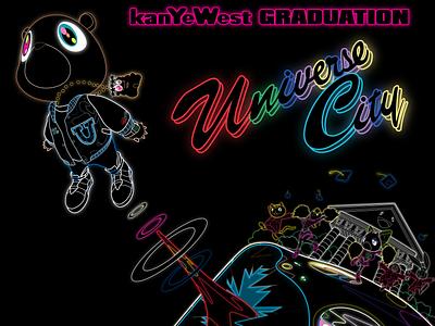 Neon Vector/Remastered Takashi Murakami Graduation Art hd neon 村上 隆 dropout bear good morning graduation kanye west takashi-murakami illustrator vector jaedger josh edger