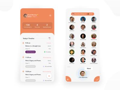 Smart Classroom - Mobile Concept technologies orange add statistics minimal app ux design students teacher attendance timeline classic ui classroom smart smart classroom
