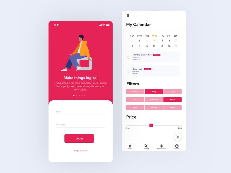 Login Calendar Funtions login calendar red interface branding experience minimal illustration typography design app icon ux ui