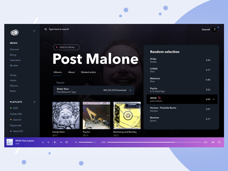 Music Player Concept identity minimal interface experience web design illustration application cover player ui music artwork black music app spotify music player typography branding app ux ui