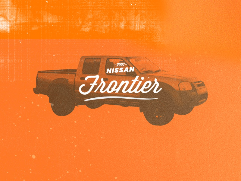 My Truck frontier truck frontier nissan type typography orange gradient map truck