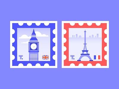 Stamp Sticker Series 01 thoughtspot flag stickermule sticker design sticker stamp design stamp landmark skyline city england france paris london vector digital illustration illustration