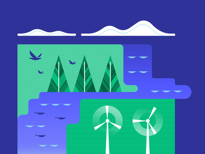 World Environment Day earth day earth outdoors energy wind clouds birds trees water sustainability outside nature environment world environment day vector digital illustration illustration